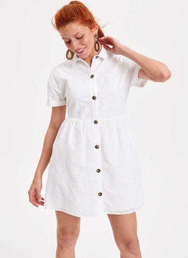 DeFacto Gömlek Elbise Beyaz